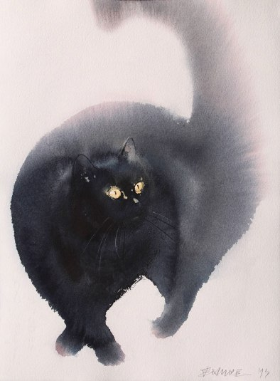 watercolor-black-cats-ink-paitings-endre-penovac-12