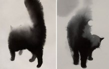 watercolor-black-cats-ink-paitings-endre-penovac-5 (1)